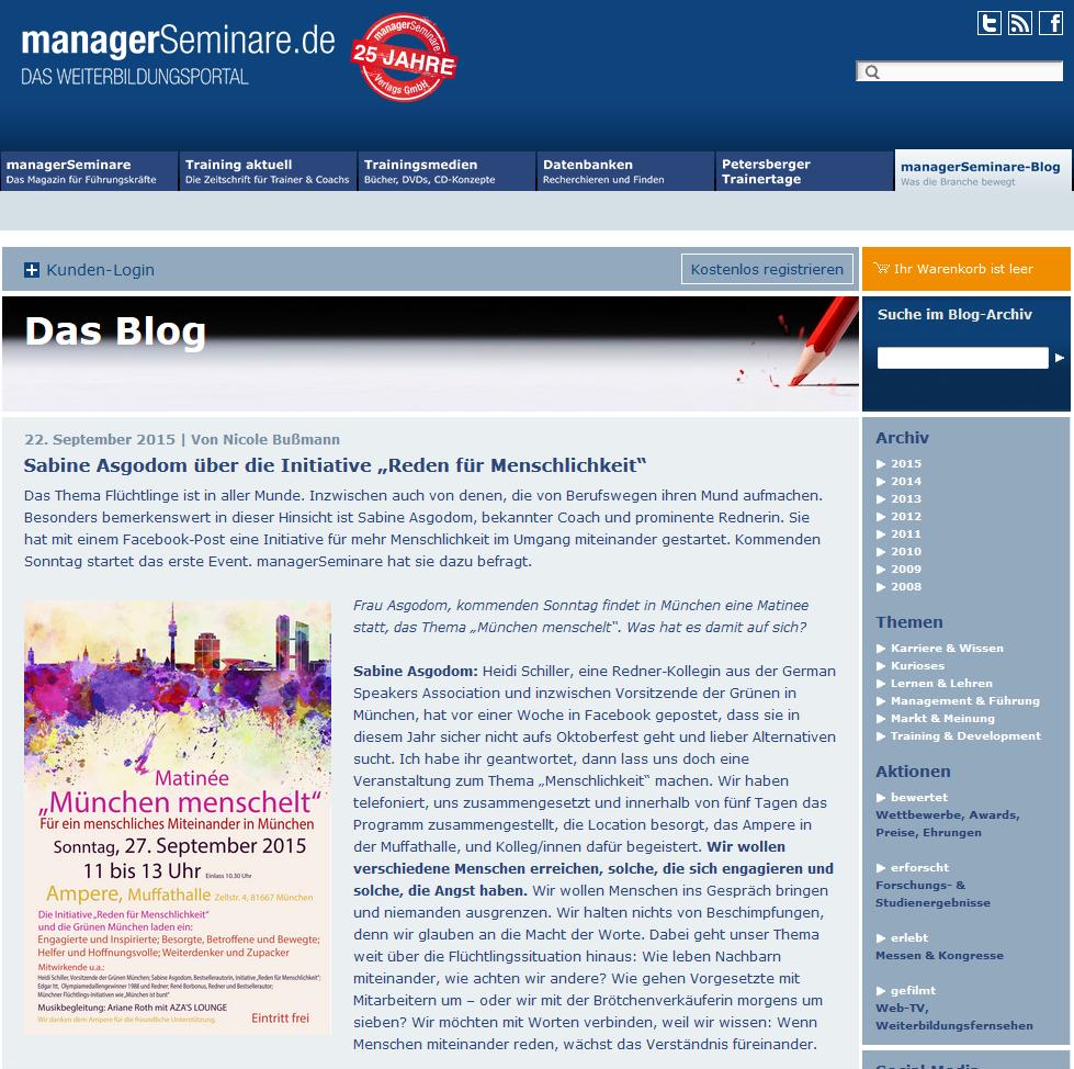 Screenshot der Seite: http://www.managerseminare.de/blog/sabine-asgodom-uber-die-initiative-reden-fur-menschlichkeit/2015/09
